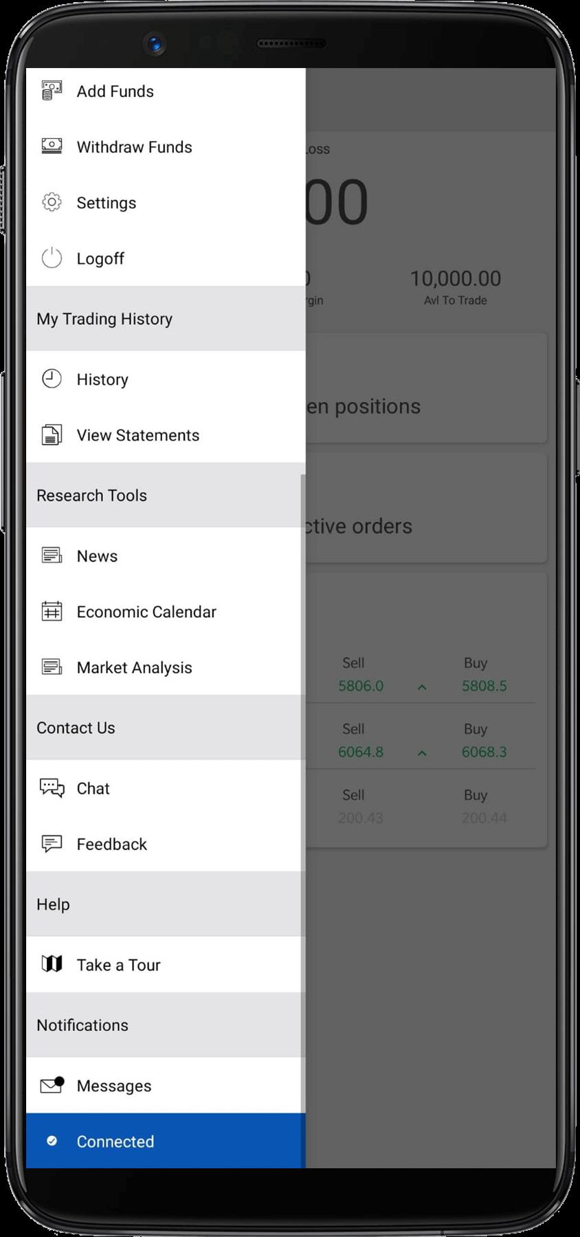Forex.com menu 2